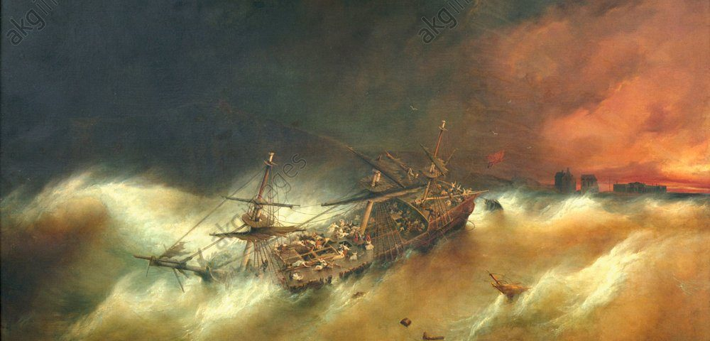 2-S10-S4-1835-2 (204973)  F. Perrot/ Schiffbruch der Amphitrite  Perrot, Ferdinand 1808-1841. 'Le naufrage de l'Amphitrite' (Schiff- bruch der 'Amphitrite'), um 1835(?). Öl auf Leinwand, 237 x 385 cm. Boulogne-sur-Mer, Château-Musée.  E: F. Perrot / Shipwreck of Amphitrite  Perrot, Ferdinand 1808-1841. 'Le naufrage de l'Amphitrite' (Shipwreck of the 'Amphitrite'), c.1835(?). Oil on canvas, 237 x 385cm. Boulogne-sur-Mer, Château-Musée.  F: 'Le naufrage de l'Amphitrite'  Perrot, Ferdinand ;1808-1841. 'Le naufrage de l'Amphitrite',  v.1835 (?). Huile sur toile, 237 x 385 cm. Boulogne-sur-Mer, Château-Musée.