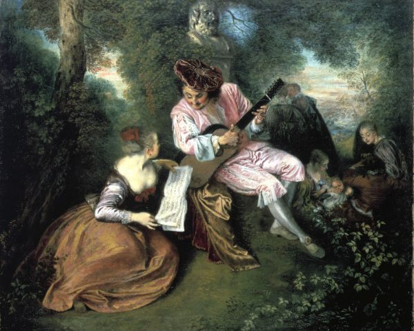 2-M99-A1-1717  A.Watteau, Liebeslied  Watteau, Antoine 1684-1721. 'La gamme d'amour' (Liebeslied), 1717. Oel auf Leinwand, 51 x 60 cm. London, National Gallery.  E: Watteau / La gamme d'amour / 1717  Watteau, Antoine 1684-1721. 'La gamme d'amour', 1717. Oil on canvas, 51 x 60cm. London, National Gallery.  F: A.Watteau, Gamme d'amour  Watteau, Antoine 1684-1721. 'La Gamme d'amour', 1717. Huile sur toile, H. 0,51 , L. 0,60. Londres, National Gallery.